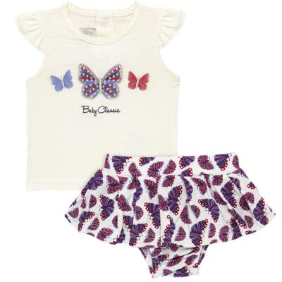 Imagem 1 do produto Blusinha com Calcinha Saia para bebe em viscolycra Butterflies - Baby Classic - 20521628 BLUSINHA M/C C/ SAIA VISCOLYCRA BUTTERFLY -M