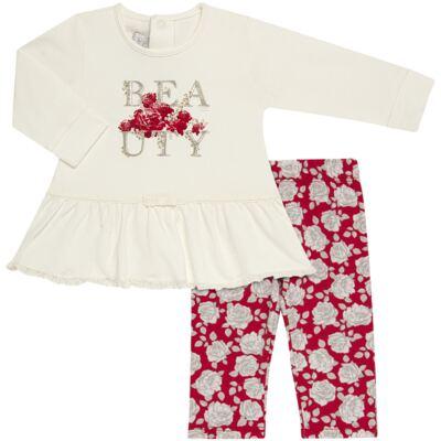 Imagem 1 do produto Bata com Legging para bebe em viscomfort Roses - Baby Classic - 18190003.21 BLUSA ABER.TRASEIRA C/LEGGING-VISCOMFORT-GG