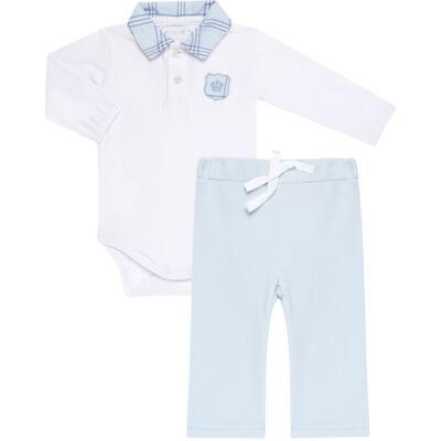Imagem 1 do produto Body longo com Calça em viscomfort Le Petit Azul - Baby Classic - 18660001.03 CONJ.BODY C/GOLA E CALÇA - VISCOMFORT-P