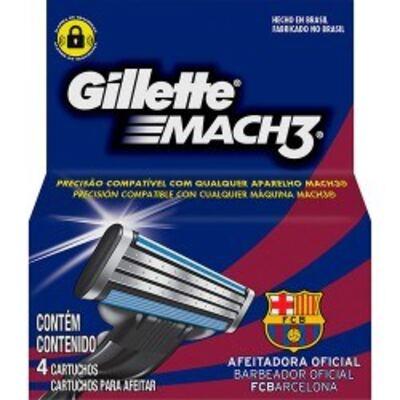 Imagem 1 do produto Carga para Aparelho de Barbear Gillette Mach3 Barcelona - 4 unidades