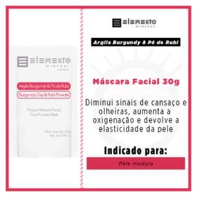Máscara Facial Elemento Mineral Argila Burgundy com Pó de Rubi - 30g