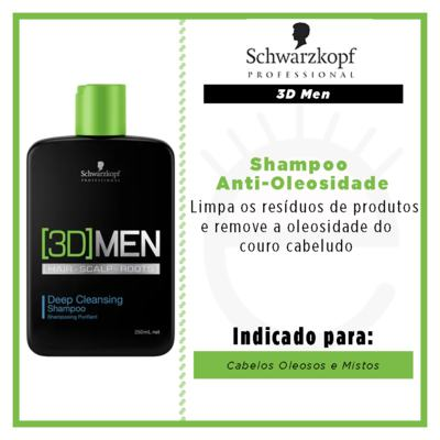 Imagem 2 do produto Schwarzkopf 3D Men - Shampoo Anti-Oleosidade - 250ml