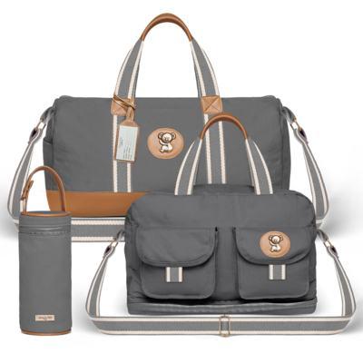 Imagem 1 do produto Bolsa Passeio para bebe + Bolsa Ibiza + Porta Mamadeira em sarja Adventure Chumbo - Classic for Baby Bags