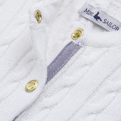 Imagem 2 do produto Casaquinho para bebe em tricot trançado Branco - Mini Sailor - 75404260 CASAQUINHO BASICO TRANÇADO TRICOT BRANCO -9-12