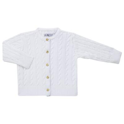 Imagem 1 do produto Casaquinho para bebe em tricot trançado Branco - Mini Sailor - 75404260 CASAQUINHO BASICO TRANÇADO TRICOT BRANCO -NB