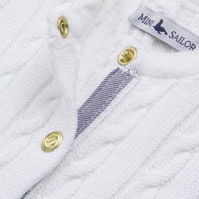 Imagem 2 do produto Casaquinho para bebe em tricot trançado Branco - Mini Sailor - 75404260 CASAQUINHO BASICO TRANÇADO TRICOT BRANCO -3