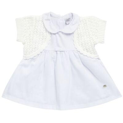 Imagem 1 do produto Vestido c/ Bolero para bebe em fustão Branco - Mini & Classic - 1425659 VESTIDO COM BOLERO TRICOLINE/BRANCO-M