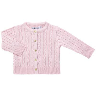 Imagem 1 do produto Casaquinho para bebe em tricot trançado Rosa - Mini Sailor - 75404264 CASAQUINHO BASICO TRANÇADO TRICOT ROSA BEBE-NB