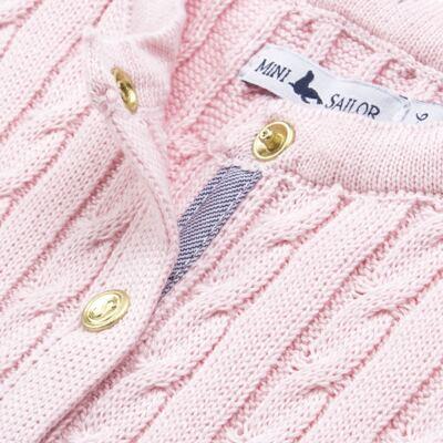 Imagem 2 do produto Casaquinho para bebe em tricot trançado Rosa - Mini Sailor - 75404264 CASAQUINHO BASICO TRANÇADO TRICOT ROSA BEBE-NB