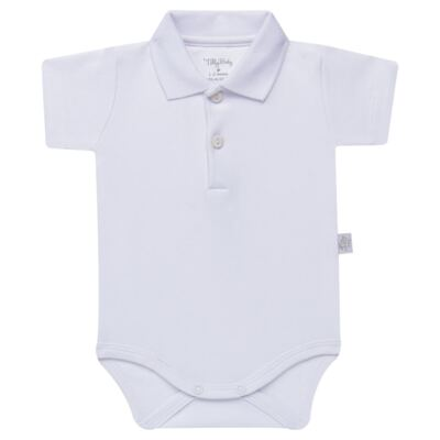 Imagem 1 do produto Body Polo curto para bebe em suedine Branco - Tilly Baby - TB13120.01 BODY POLO MC SUEDINE BRANCO -M