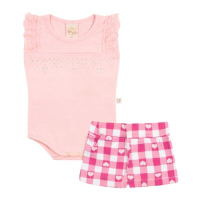 Imagem 1 do produto Body regata com Shorts balonê para bebe Peach - Time Kids - TK5054.RS CONJUNTO BODY E SHORTS XADREZ ROSA-G