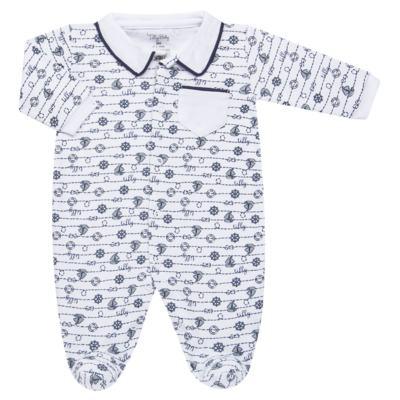Imagem 1 do produto Macacão longo para bebe em suedine Navy - Tilly Baby - TB168170 MACACAO ML MASCULINO SUEDINE NÁUTICO-P