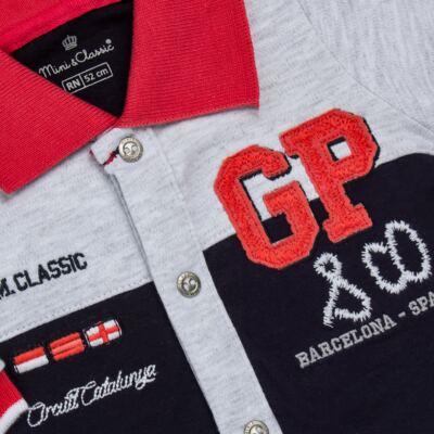 Imagem 2 do produto Macacão longo para bebe em algodão egípcio c/ jato de cerâmica Race - Mini & Classic - 2145668 MACACAO C/GOLA SUEDINE GRAND PRIX-P