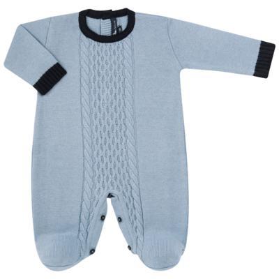 Imagem 1 do produto Macacão longo para bebe em tricot trançado Louis - Mini Sailor - 21774265 MACACAO COM TRANÇAS TRICOT AZUL BEBE-6-9