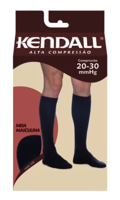 Imagem 1 do produto Meia Panturrilha Masculina 20-30 Alta Kendall - MARROM PONTEIRA FECHADA G KENDAL