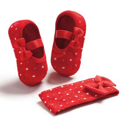 Imagem 1 do produto Kit Faixa de cabelo e meia sapatilha Laço Poá Vermelha - Puket - PK6934D-V Kit Faixa de Cabelo+ Meia Sapatilha Vermelho-0/4