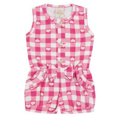 Imagem 1 do produto Macaquinho regata para bebe em cotton Peach - Time Kids - TK5057.RS MACAQUINHO XADREZ ROSA-G