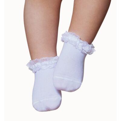 Imagem 1 do produto Meia Soquete para bebe Branca Renda & Laço - Puket - PK9031L-B Meia Festa RN Branco -9/12