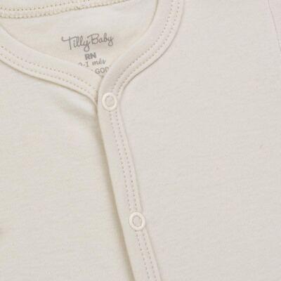 Imagem 2 do produto Macacão longo para bebe em suedine Bege - Tilly Baby - TB13113.02 MACACAO BASICO DE SUEDINE BEGE-M