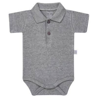 Body Polo curto para bebe em suedine Mescla - Tilly Baby - TB13120.06 BODY POLO MC SUEDINE MESCLA-G