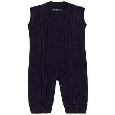 Imagem 1 do produto Macacão Pulôver para bebe em tricot George - Mini Sailor - 16144262 JARDINEIRA C/ TRANÇA TRICOT MARINHO -6-9