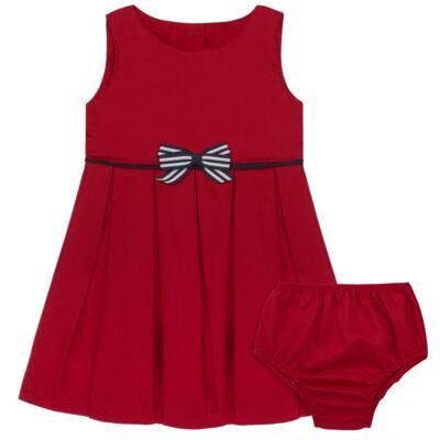 Imagem 1 do produto Vestido c/ Calcinha para bebe em fustão Scarlet - Mini Sailor - 14474263 VESTIDO C/ VIVO FUSTAO VERM ESC-3-6