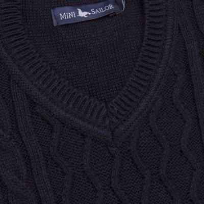Imagem 2 do produto Macacão Pulôver para bebe em tricot George - Mini Sailor - 16144262 JARDINEIRA C/ TRANÇA TRICOT MARINHO -3-6