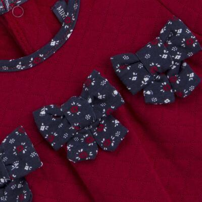 Imagem 3 do produto Macacão longo para bebe em suedine matelassê Liberty - Mini Sailor - 20134263 MACACAO C/ RECOR E LAÇOS MATELASSE VERMELHO-9-12