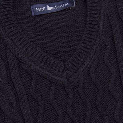 Imagem 2 do produto Macacão Pulôver para bebe em tricot George - Mini Sailor - 16144262 JARDINEIRA C/ TRANÇA TRICOT MARINHO -0-3