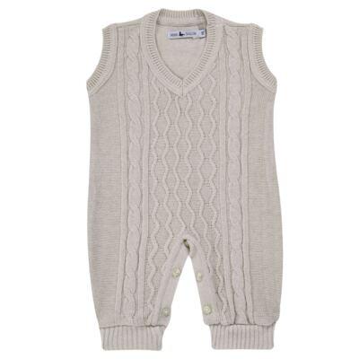 Imagem 1 do produto Macacão Pulôver para bebe em tricot Philippe - Mini Sailor - 16144267 JARDINEIRA C/ TRANÇA TRICOT CAQUI-NB