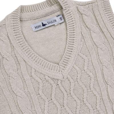 Imagem 2 do produto Macacão Pulôver para bebe em tricot Philippe - Mini Sailor - 16144267 JARDINEIRA C/ TRANÇA TRICOT CAQUI-NB