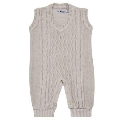 Imagem 1 do produto Macacão Pulôver para bebe em tricot Philippe - Mini Sailor - 16144267 JARDINEIRA C/ TRANÇA TRICOT CAQUI-6-9