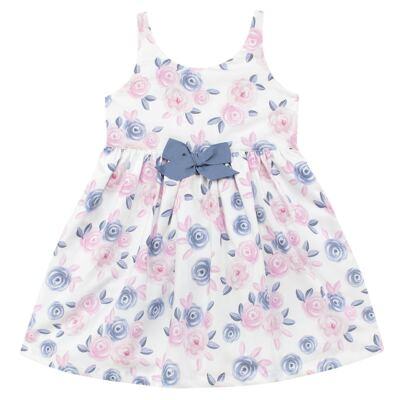 Imagem 1 do produto Vestido curto para bebe em tricoline Flourish - Mini Sailor - 14724440 VESTIDO C/LACO TRICOLINE FLORAL ROSA-9-12