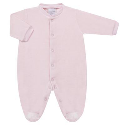 Imagem 1 do produto Macacão longo para bebe em plush Rosa - Tilly Baby - TB13172.10 MACACAO BASICO DE PLUSH ROSA-RN