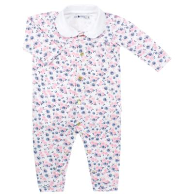 Macacão longo para bebe em cotton Flourish - Mini Sailor - 22024440 MACACAO M/L C/GOLA COTTON FLORAL ROSA-9-12
