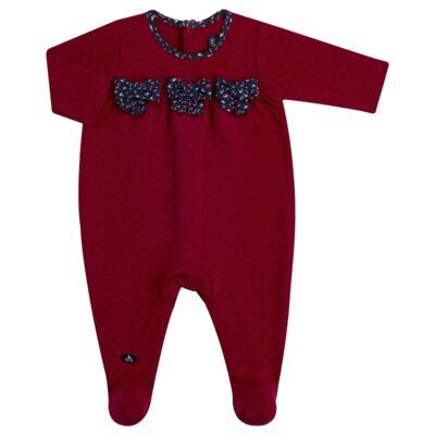 Imagem 1 do produto Macacão longo para bebe em suedine matelassê Liberty - Mini Sailor - 20134263 MACACAO C/ RECOR E LAÇOS MATELASSE VERMELHO-NB