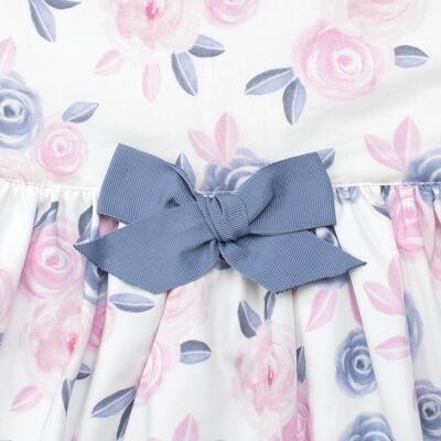 Imagem 2 do produto Vestido curto para bebe em tricoline Flourish - Mini Sailor - 14724440 VESTIDO C/LACO TRICOLINE FLORAL ROSA-1