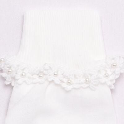 Imagem 2 do produto Meia para bebê branca bordada Flores - Roana - 406-A Meia branca bordada Flores-M