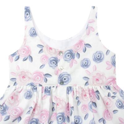 Imagem 3 do produto Vestido curto para bebe em tricoline Flourish - Mini Sailor - 14724440 VESTIDO C/LACO TRICOLINE FLORAL ROSA-3-6
