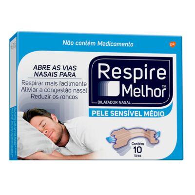 Imagem 1 do produto Respire Melhor Pele Sensível Tamanho Médio 10 Tiras