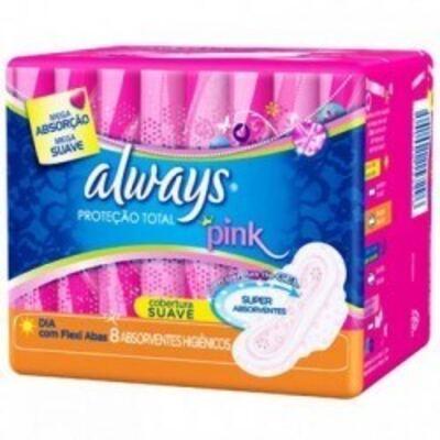 Imagem 2 do produto Absorvente Always Pink Dia Cobertura Suave Flexi Abas c/8 Unidades