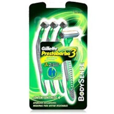 Imagem 2 do produto Aparelho de Barbear Gillette Prestobarba 3 Bobysense C/ 4 Unidades