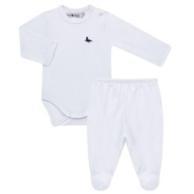 Imagem 1 do produto Body longo c/ Calça (mijão) em cotton touch Branco - Mini Sailor - 19354260 BODY M/L C/ MIJAO SUEDINE BRANCO -0-3