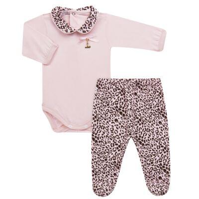 Imagem 1 do produto Body longo com Mijão para bebê em algodão egípcio Oncinha - Roana - 02532023220 CONJUNTO BODY GOLA + MIJÃO ONCINHA -P
