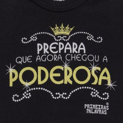 Imagem 2 do produto Body curto para bebe em suedine Poderosa - Primeiras Palavras - PP1508 BODY PODEROSA PRETO MC-RN