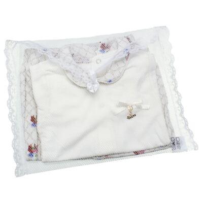 Imagem 6 do produto Body longo c/ Calça (Mijão) em algodão egípcio Flores - Roana - 02532019031 Conjunto Body longo com Calça Marfim-M