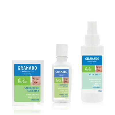 Imagem 1 do produto Kit com 1 sabonete + 1 Loção Hidratante + 1 Óleo Suave para bebê Erva-doce - Granado