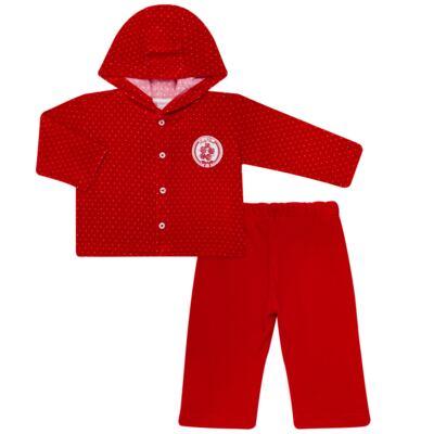 Imagem 1 do produto Casaco c/ capuz e Calça para bebe em plush Ruby - Mini & Kids - CCPZ1051.215 CONJ. BLUSÃO CAPUZ E CALÇA PLUSH VERMELHO-P