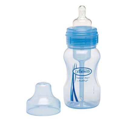 Imagem 1 do produto Mamadeira Boca Larga Azul 240ml (0m+) - Dr Brown's - D814 Mamadeira Boca Larga Azul 240ml (0m+)