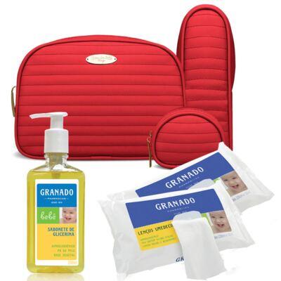 Imagem 1 do produto Kit Acessórios Golden Vermelho +  Lenços Umedecidos + Sabonete Líquido Bebê Tradicional - Classic For Baby Bags & Granado